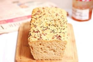 A picture of the home made Multigrain Bread Loaf.