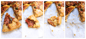 A collage of pieces of the Fancy Tomato Pie.