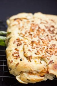Baked pizza bread served straight out of the oven
