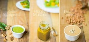 A collage of three homemade salad dressings.
