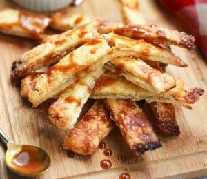 Apple Pie Chips drizzled with salted caramel sauce.