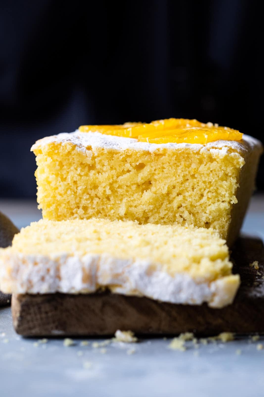 Close up of orange buttermilk pound cake crumb
