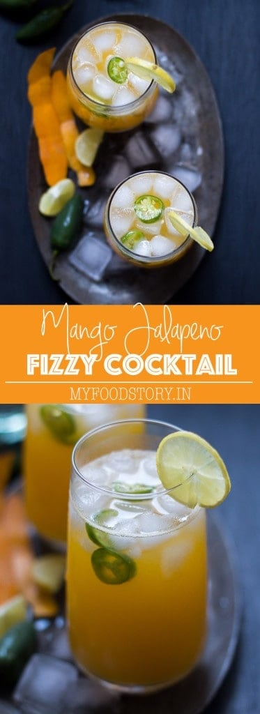 Tall Mango Jalapeno Fizzy Cocktail is a super fun and refreshing brunch drink. Its diverse flavors will tease your taste buds because while the white rum gets the spice from the jalapenos, the mango juice makes it sweet. It will lift up your spirits and will be your perfect Sunday brunch companion once you give it a try. #myfoodstory #recipe #cocktail #mango #jalapeno #brunch #summer #whiterum