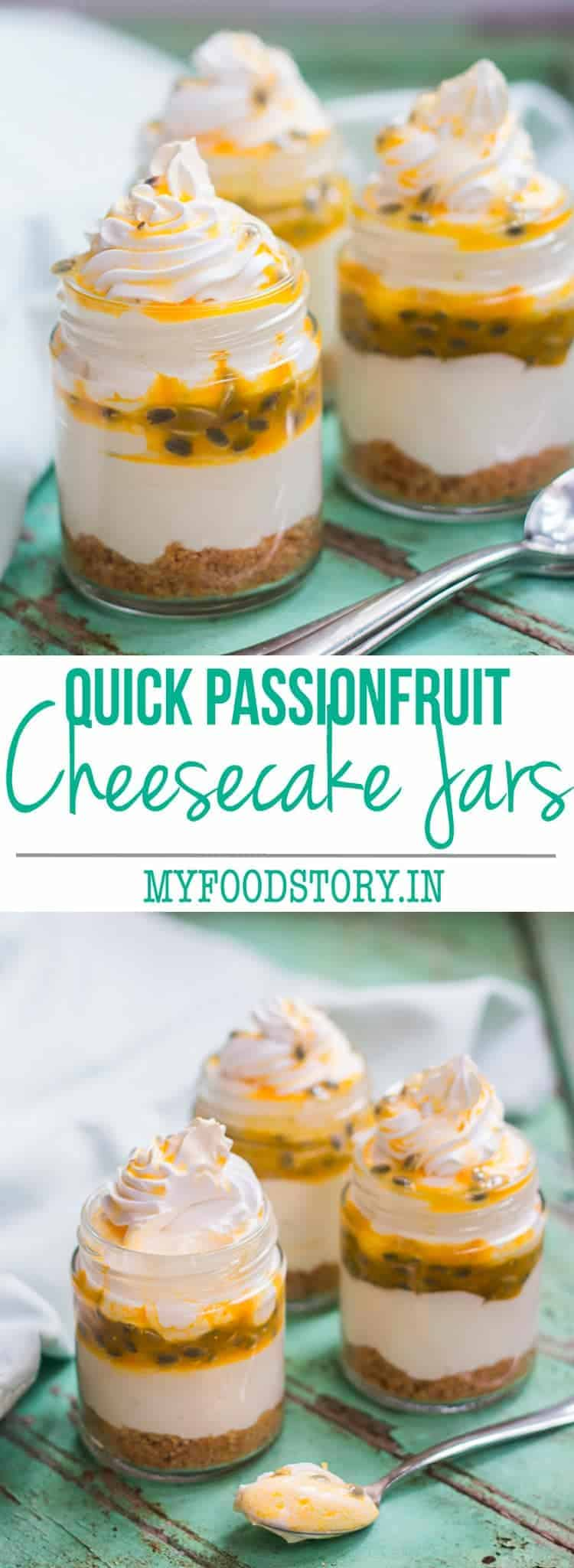 8 ingredient Passion Fruit Cheesecake Jars