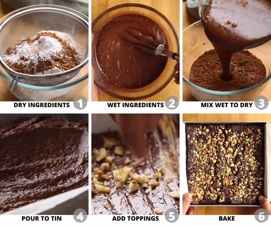 Step by step pictures to show you how to make eggless chocolate brownies