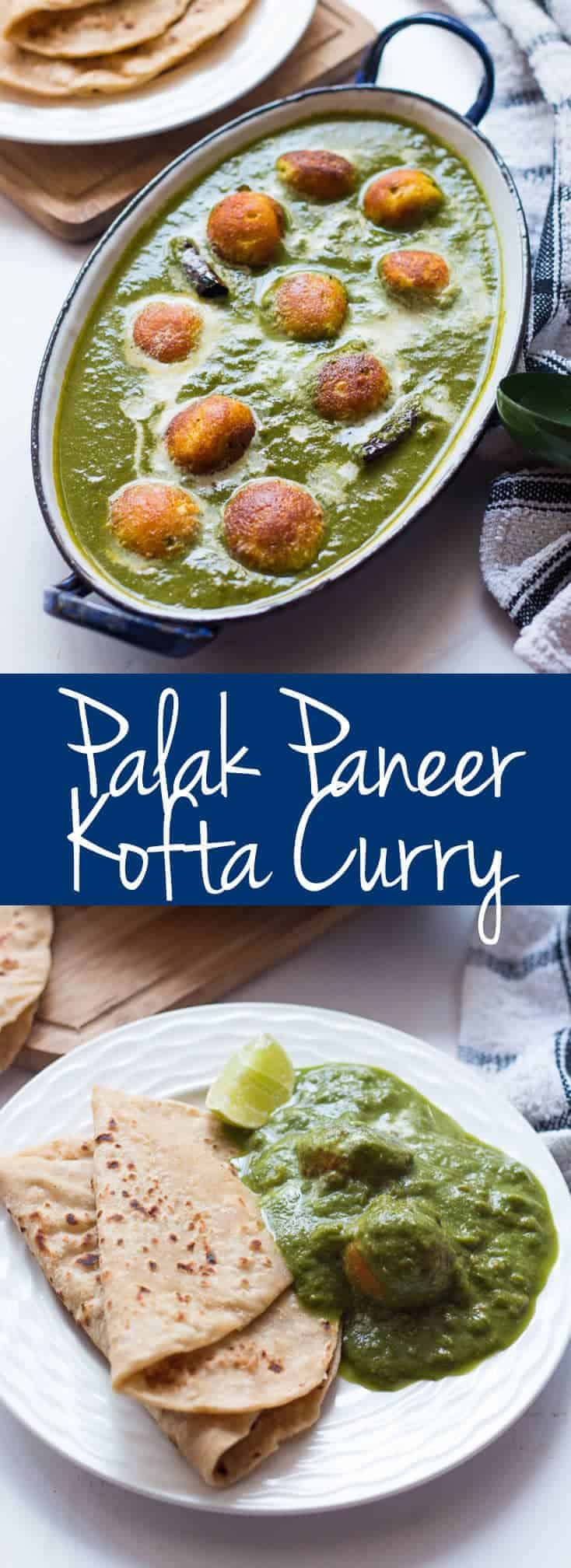 This Healthy Palak Paneer Kofta Curry is a new take on the widely loved Indian dish. The creamy koftas are cooked in a paniyaram or an appe pan instead of being deep fried and are then served with a spinach curry that bursts with flavors.This healthier version is perfect for when you want to eat clean but yummy food! #myfoodstory #recipe #indian #curry #homemade #easy #spicy #authentic #palakpaneer
