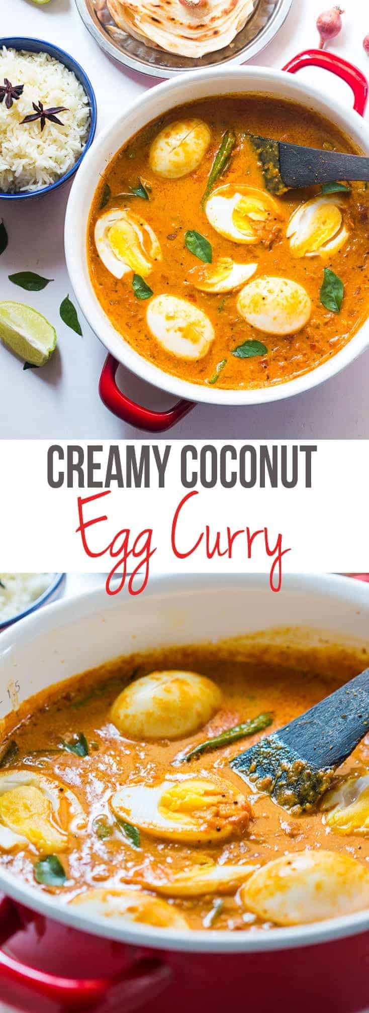South Indian style Egg Curry is incredibly easy to make. A few spices, onions, tomatoes and coconut milk make this utterly satisfying and comforting egg curry recipe that tastes best with parathas (flatbread) and rice. If you keep the yolk gooey, it adds to the creaminess of the curry that is coconutty, spicy, tangy and all things yummy! #curry #recipe #indian #dinner #fast #easy #eggs