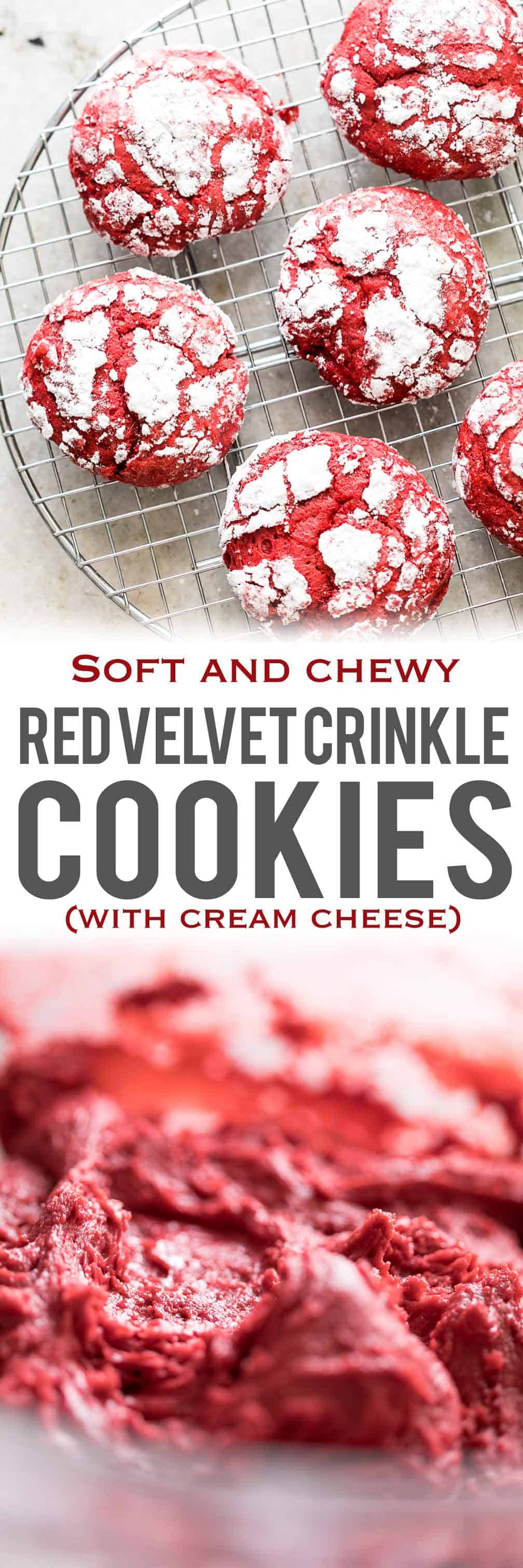 Red Velvet Crinkle Cookies are soft, chewy cookies that are made from scratch with cream cheese and will fit right in with your holiday plans. They are best enjoyed when left chewy but if you like your cookies crispy, you can leave these in the oven for longer. They\'re coated in powdered sugar, which brings the natural crinkles. The dough in itself is not too sweet so the sugar coat adds perfect balance!  #myfoodstory #recipe #dessert #redvelvet #fromscratch #chewy #homemade #easy