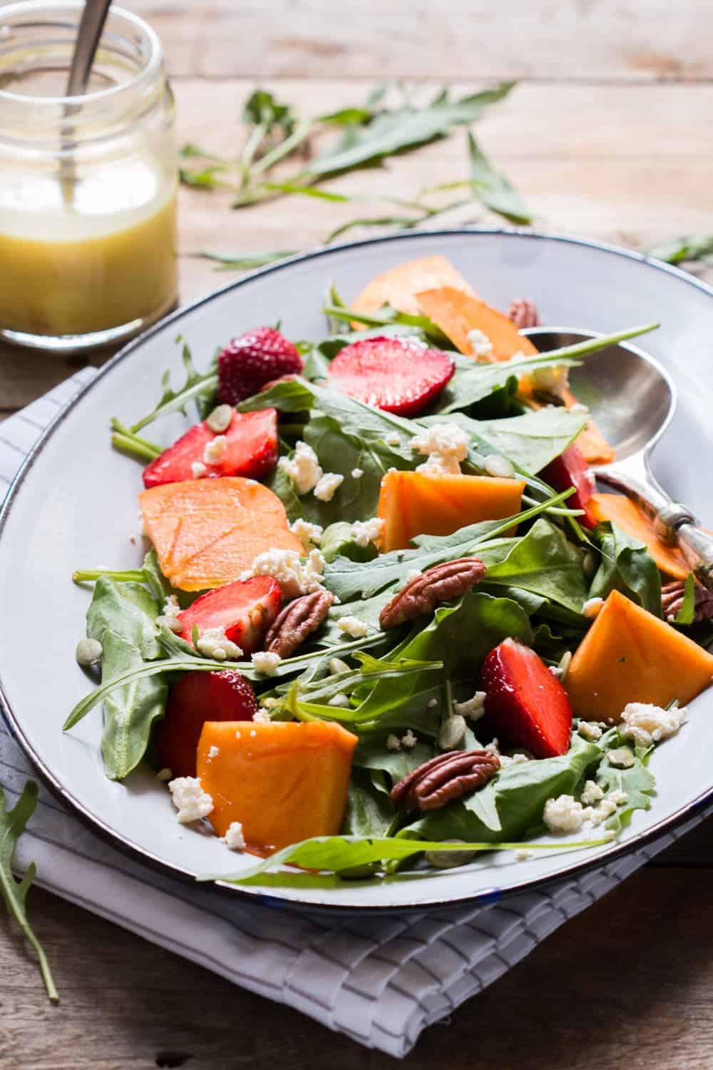 Greens Persimmon Ricotta Salad