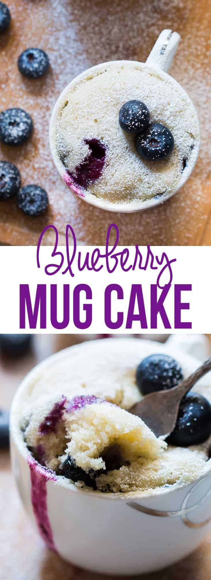 This Eggless Blueberry Microwave Mug Cake is ready under two minutes and doesn\'t require a baking pan or oven! It has a really soft and fluffy texture and the juice from the blueberries oozes out when you dig in to take a bite. You can swap ingredients to make different flavors every time. Fill the mug only halfway because the cake rises! #myfoodstory #recipe #cake #microwave #blueberries #eggless