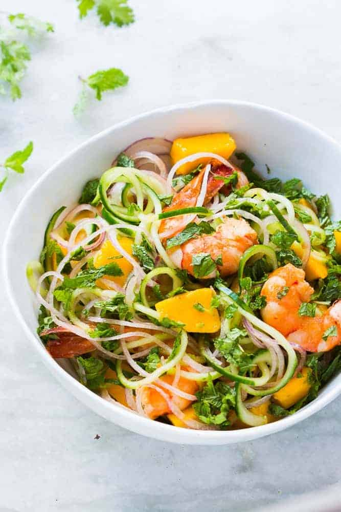 Thai Cucumber Noodle Prawn Mango Salad