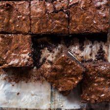Oreo brownie, sliced.