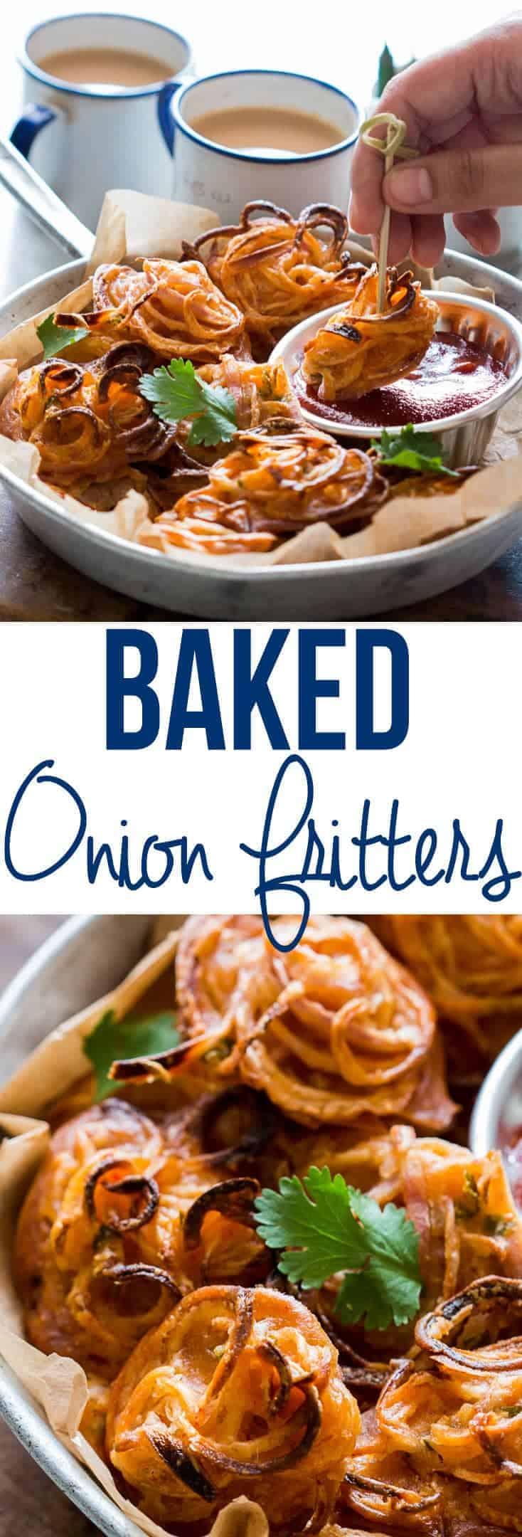Crispy Baked Onion Pakodas (Fritters)