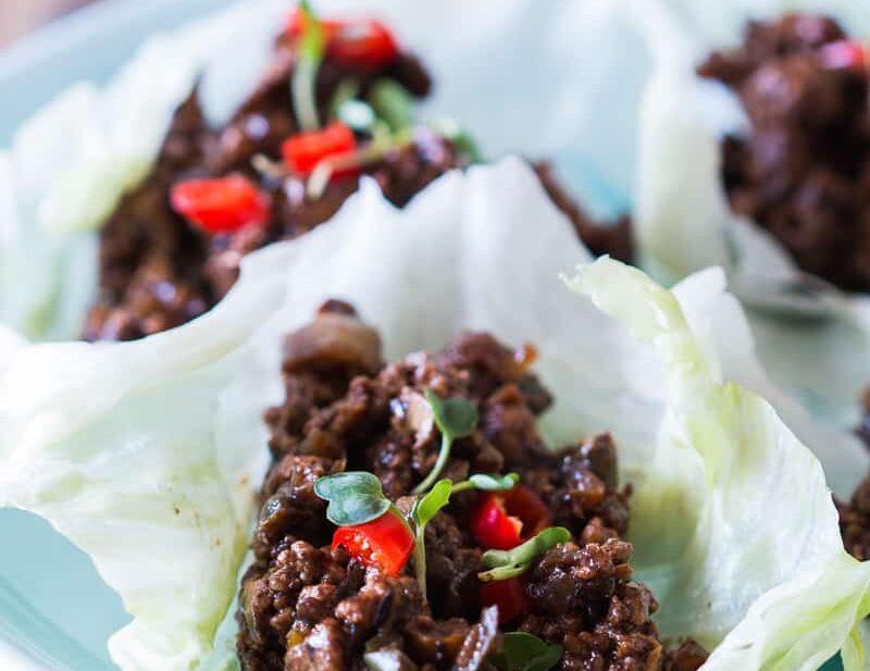 Stir fried black bean chicken lettuce cups