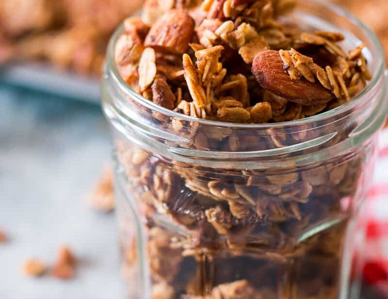 Apple Pie granola fresh out of the oven and stored in a jar!