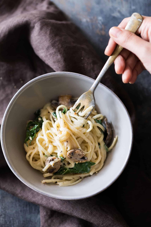 Creamy Lemon Mushroom Kale Linguine Pasta My Food Story