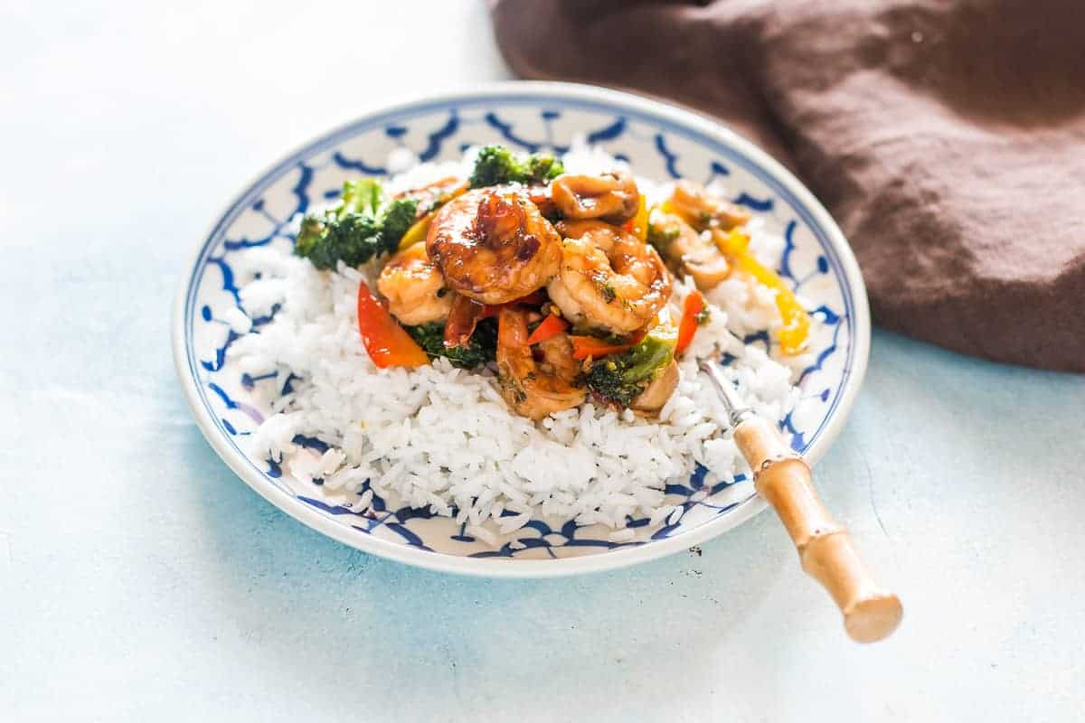Healthy Teriyaki Shrimp Broccoli Stir Fry ready in 30 mins!