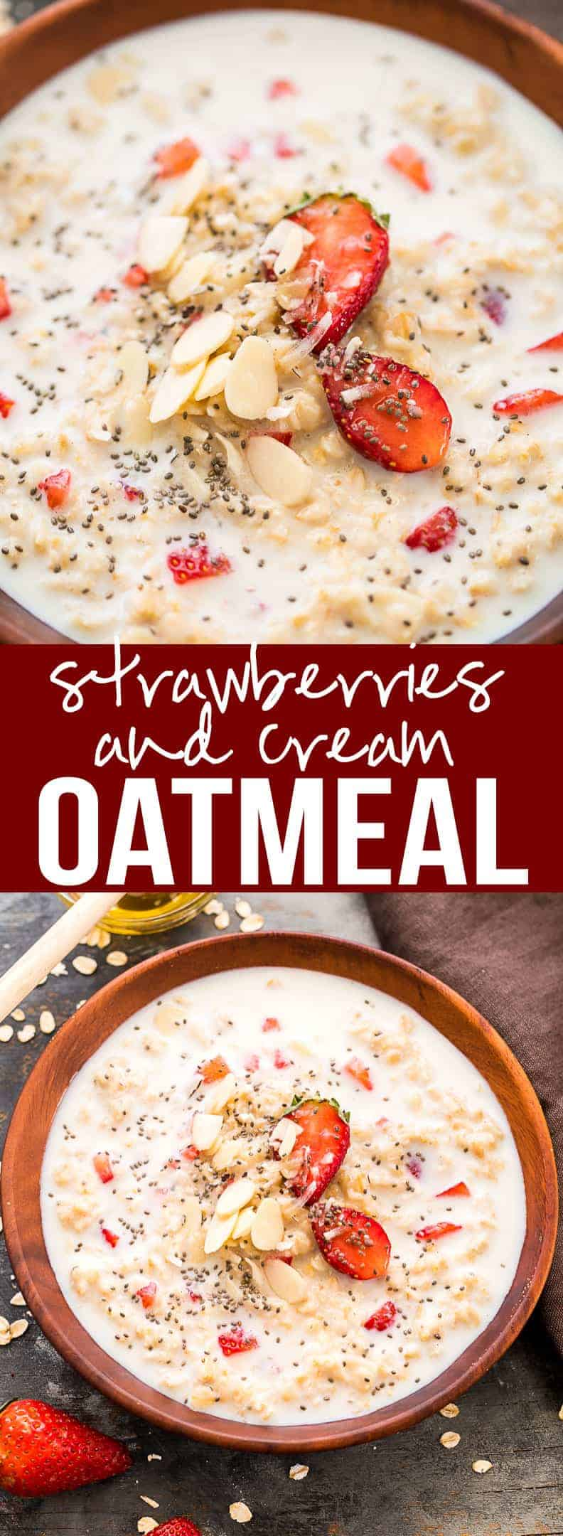 Healthy Strawberries and Cream Breakfast Oatmeal makes for a delicious breakfast that is really wholesome and keeps your energy levels up! The best part about making this is that you can add as many toppings that you want. This recipe suggests chia seeds and honey drizzled on top but you can get as creative as you want! It also doubles up as dessert! #myfoodstory  #recipe #oatmeal #healthy #breakfast #easy #howtomake