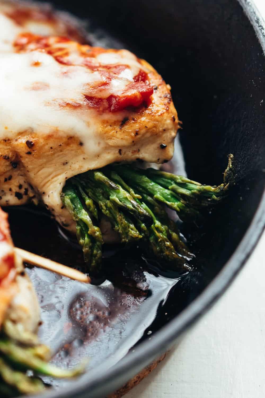 Closeup of Asparagus Stuffed Chicken Breast