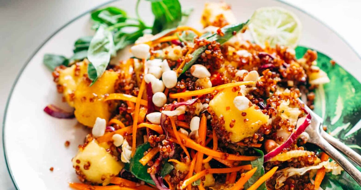 Thai Peanut Mango Quinoa Salad served on Chumbak's dinnerware collection.
