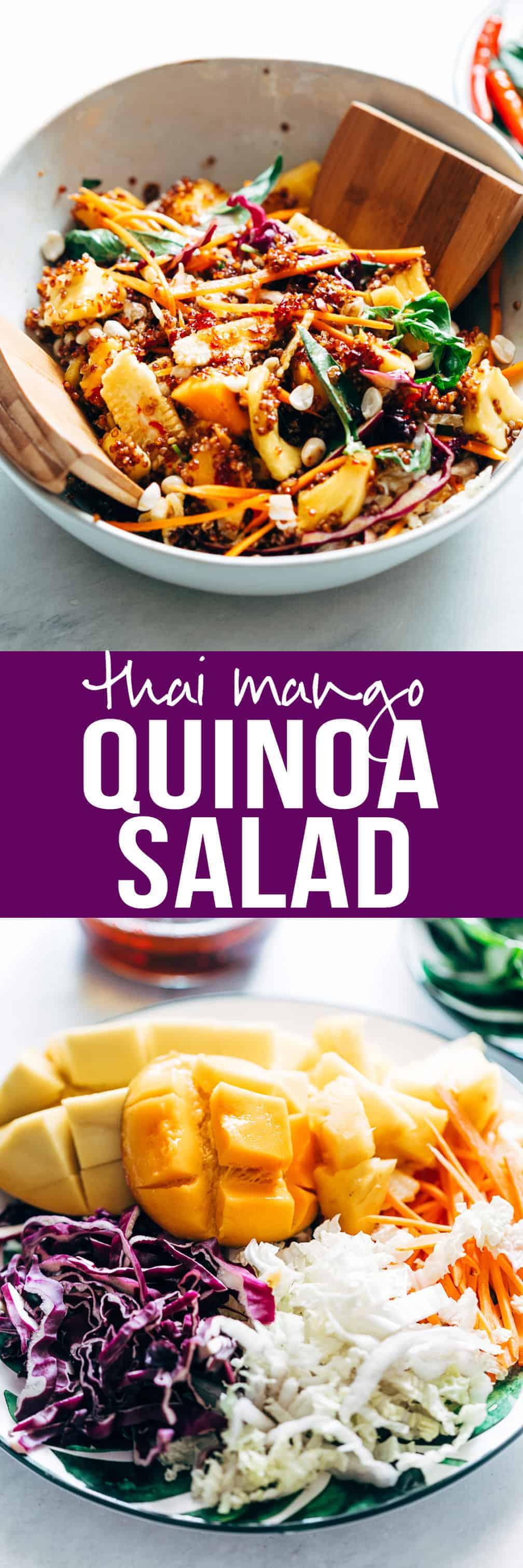 Thai Peanut Mango Quinoa Salad | Sweet Spicy Thai Sambal Dressing | Make Ahead Salad Recipe Ideas | Cold Healthy Quinoa Salad | Potlucks, Picnic and Barbecue Recipes | Asian Salad | Gluten Free | Vegan | Not Peanut Dressing