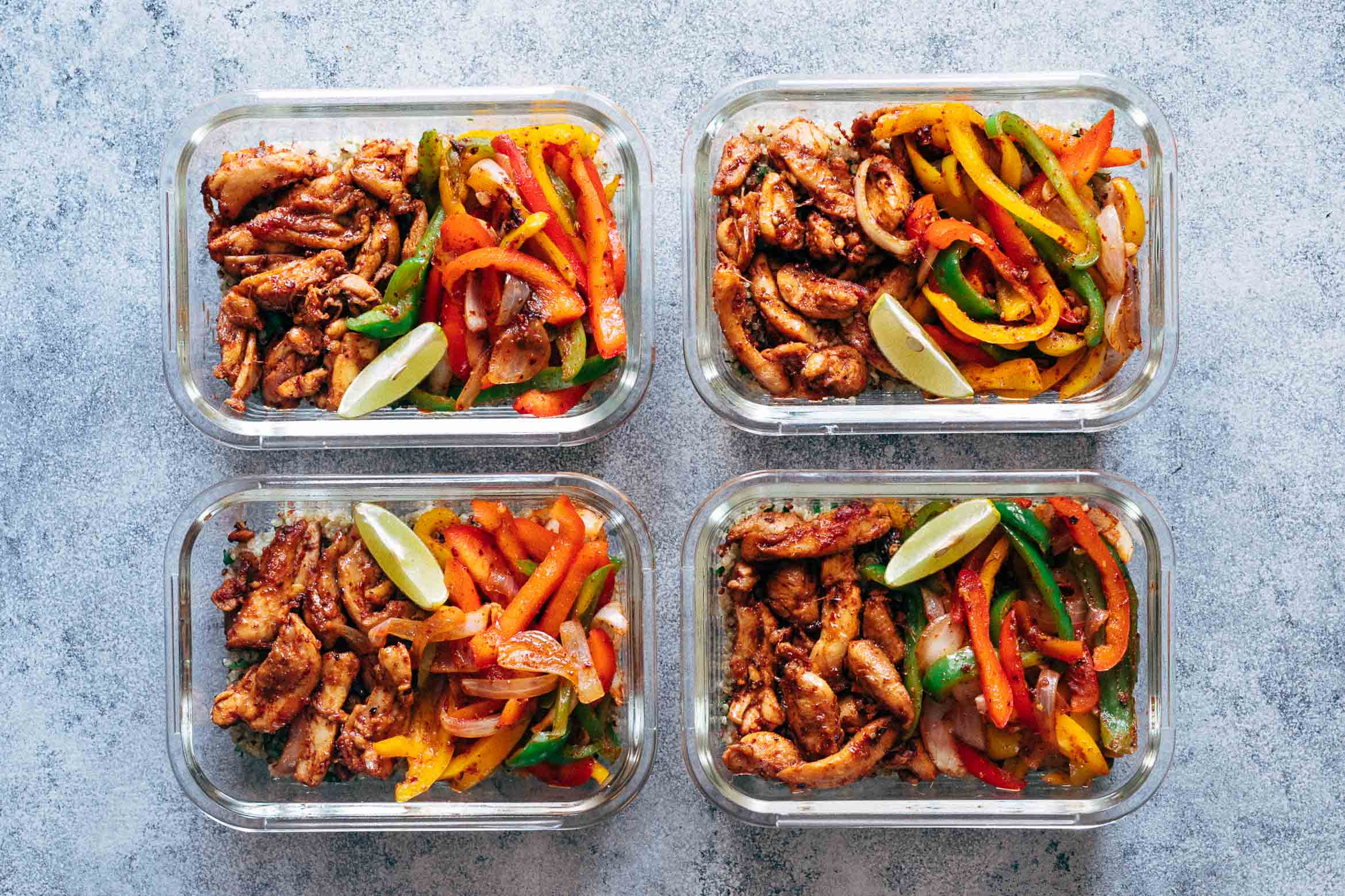 Chicken fajita meal prep lunch bowls cilantro lime quinoa forumfinder Gallery