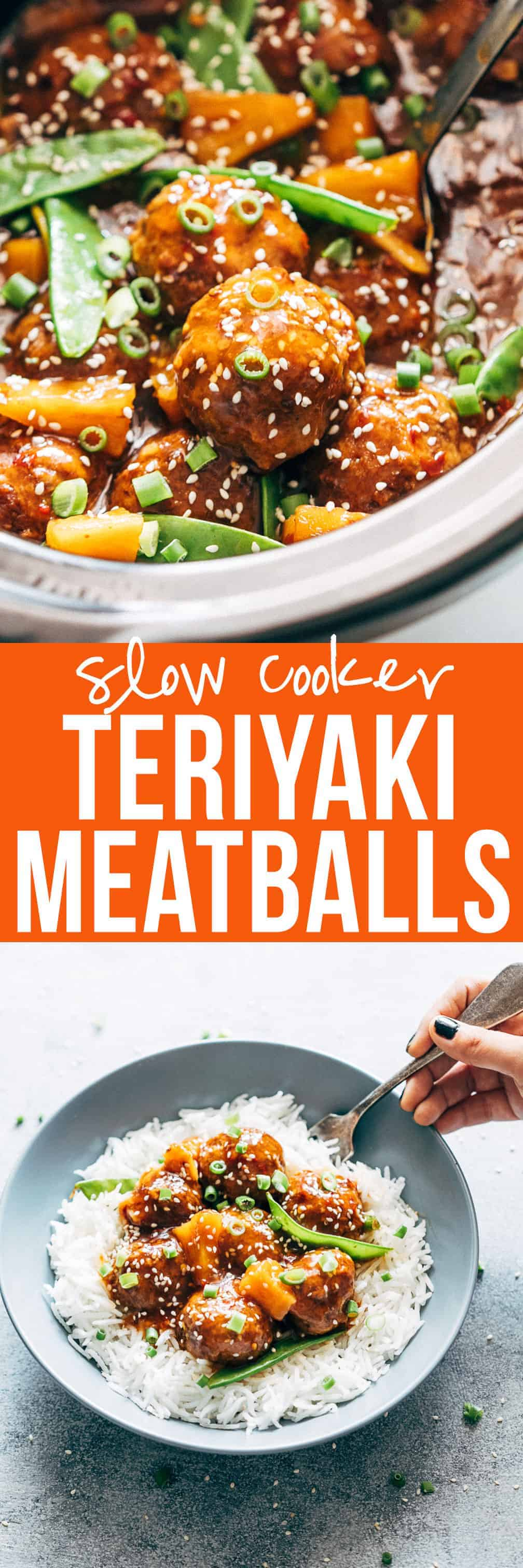 Crockpot Teriyaki Meatballs | Teriyaki Pineapple Meatballs | Asian Meatballs | Japanese Meatballs | Slow Cooker Dinner Recipes | Easy Recipes | Beef Meatballs | Pork Meatballs | Meatballs and Noodles | Meatballs and Rice