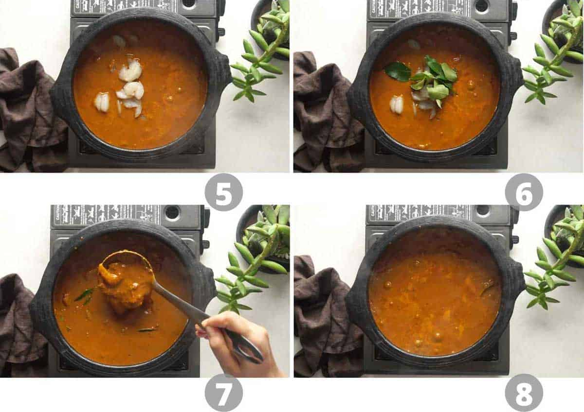 Step by step picture collage showing how to cook the prawns in the curry