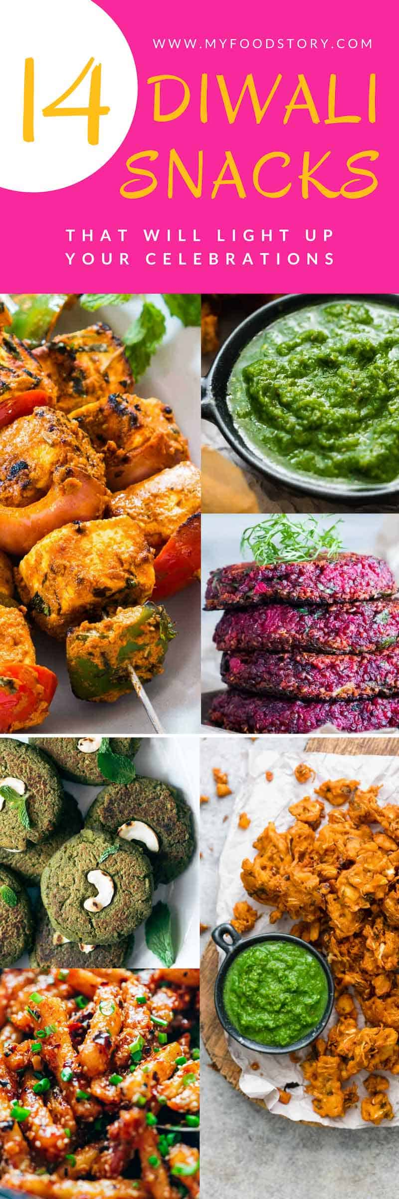 A collection of 14 Diwali snack recipes that are sure to light up your Diwali Party! These recipes are easy and most of them can be made ahead so that you can spend more time with your guests than in the kitchen.