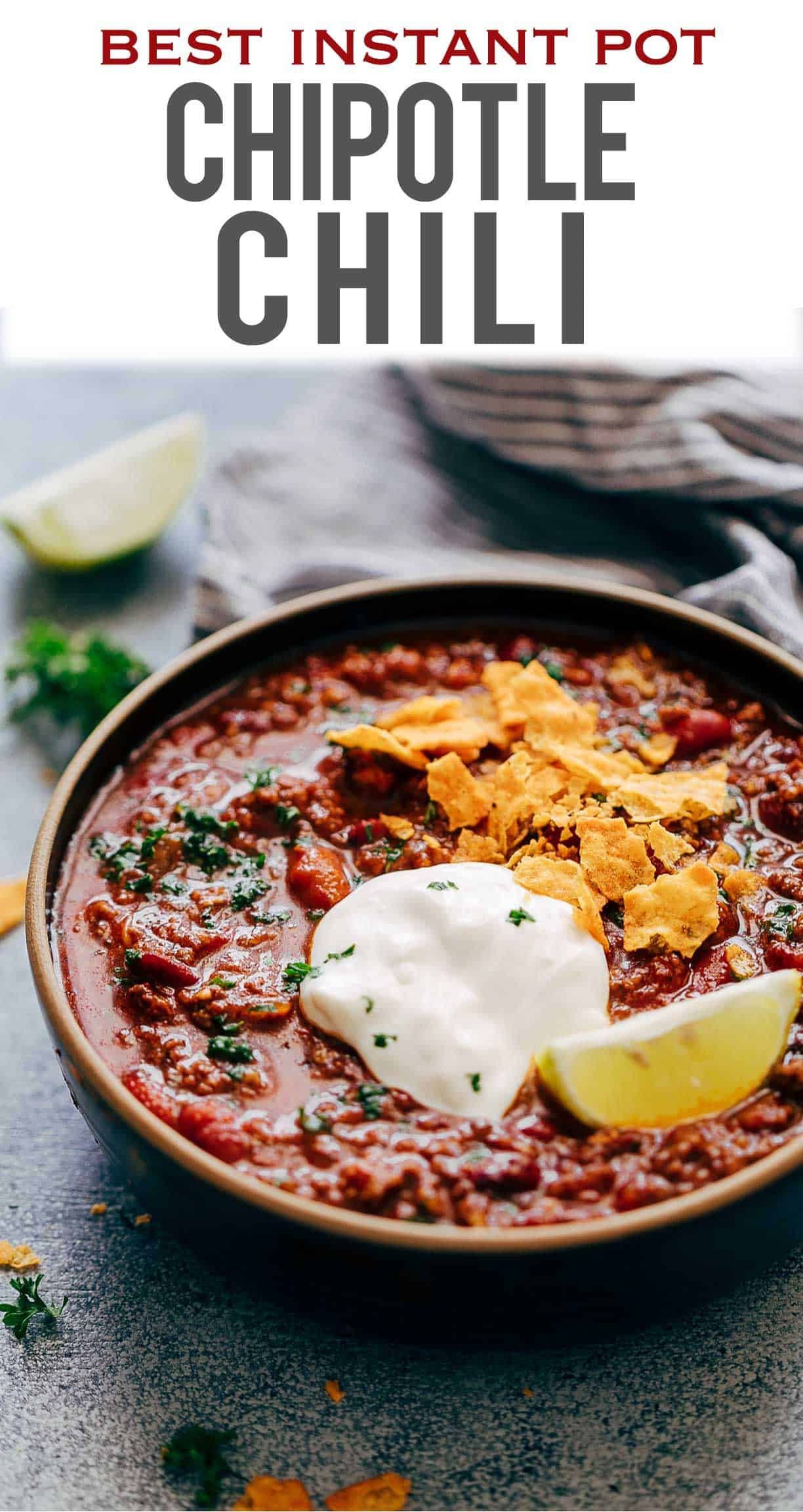 Instant Pot Chipotle Chili (Pressure Cooker recipe) is the easiest & fastest way to homemade chili. Spicy, thick, made with ground beef, chipotle peppers and dried beans, this chili does not taste like soup and is the perfect one pot meal for your families dinner. Comfort Food at its best!