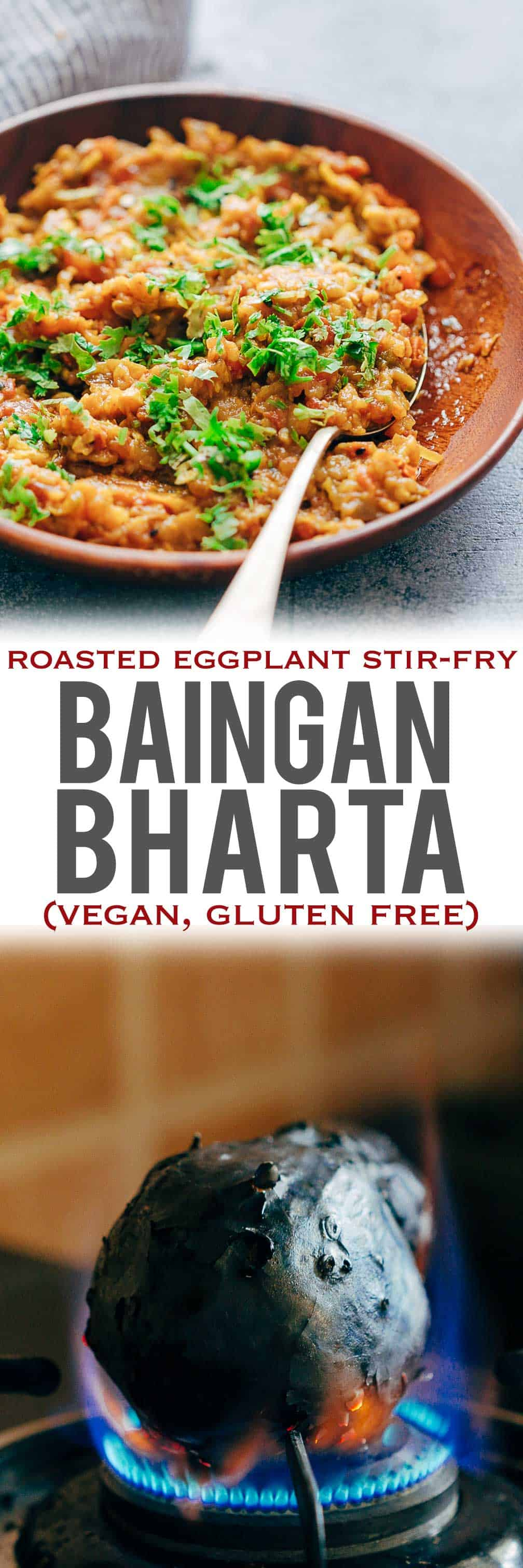 This easy baingan bharta recipe is one of those Indian curries thats going to be a sure shot hit at home! Baingan (eggplant/aubergine) is studded with garlic and roasted on an open flame, and then stir-fried with aromatics for the most delicious smoky flavor. This recipe comes with a lot of tips about the eggplant and directions for making it in the oven too! Serve with warm rotis! #myfoodstory #recipe #indian #spices #oven #instantpot #recette