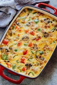 Baked Denver Omelet Breakfast Casserole in a baking dish straight out of the oven