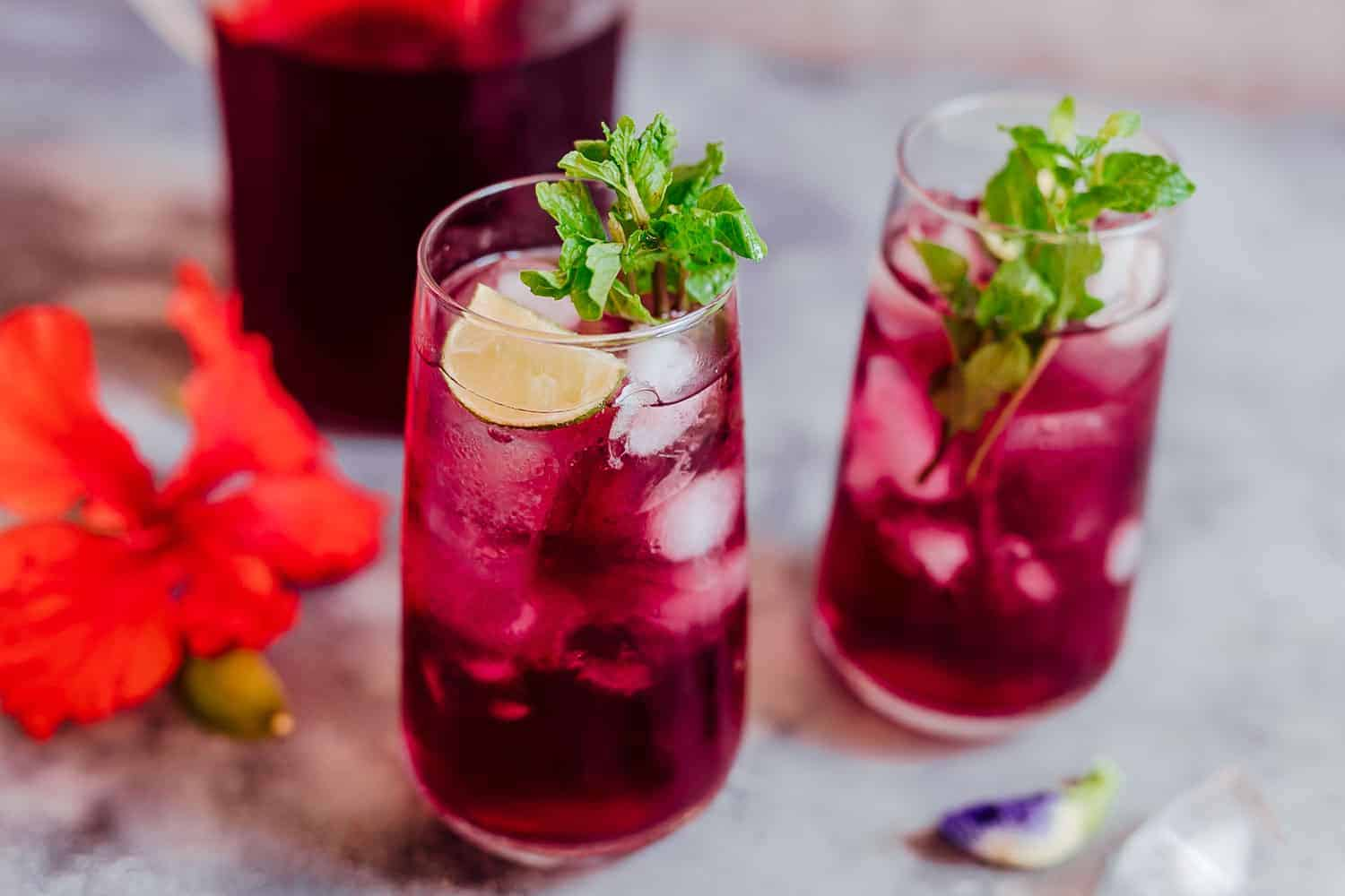 Glasses of iced hibiscus tea