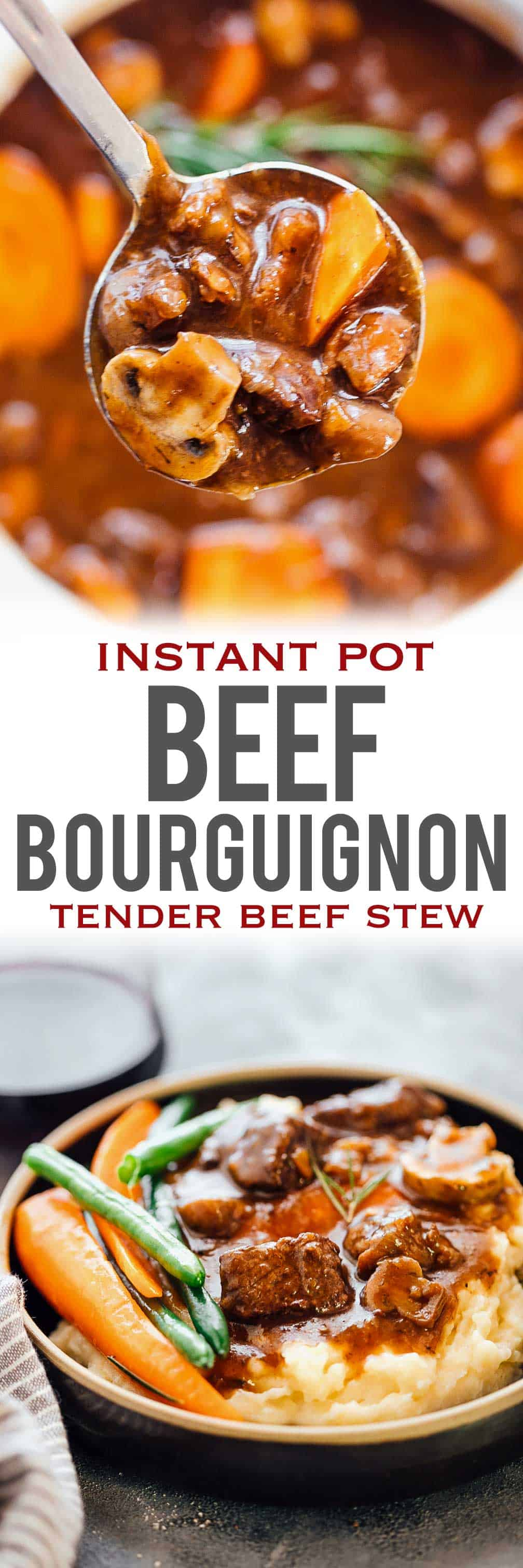 This INSTANT POT BEEF BOURGUIGNON has all the right flavours is inspired by Julia Child\'s beef stew with red wine and has tender, fall apart beef chunks. This is a french recipe that\'s easy, and tastes best with sides like mashed potatoes, roasted potatoes and beans. Use the Instant Pot to cut down the cooking time by half, but keep all the flavours intact.