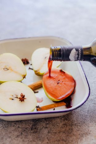 Cooking with wine by poaching pears in wine
