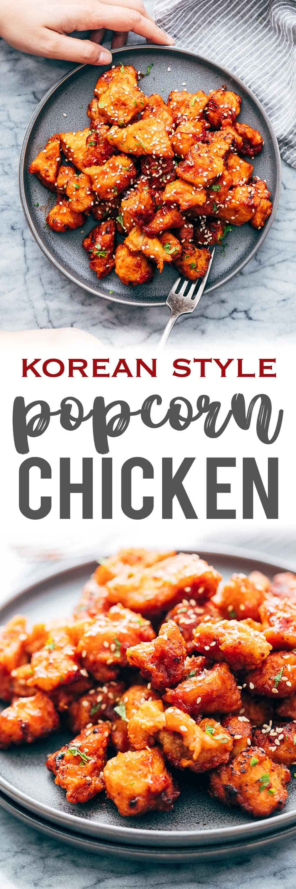 KOREAN POPCORN CHICKEN is sticky, spicy, tangy and crunchy. Inspired by the hyper-famous Korean street snack, Dakgangjeong, boneless chicken is deep fried and tossed in a sweet, sour and spicy sauce that makes every bite super addictive. #chicken #appetizer #party #snack #recipe
