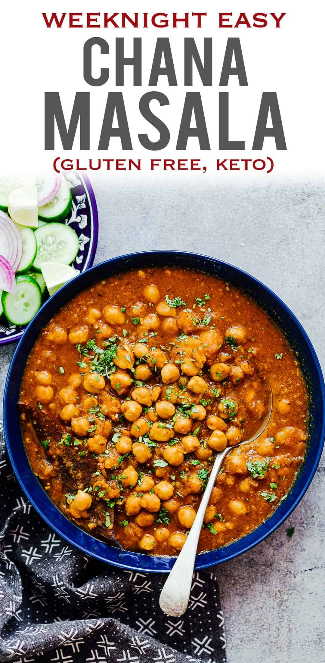 Love Indian food? Chana Masala or chhole masala is an easy and incredibly tasty chickpeas and potato curry. Its got a punch of flavour from the spices, and this recipe has instructions for instant pot, traditional pressure cooker and stovetop. The best part is that apart from being healthy, its vegan and gluten free. #indian #recipe #dinner #weeknight #vegan #fast