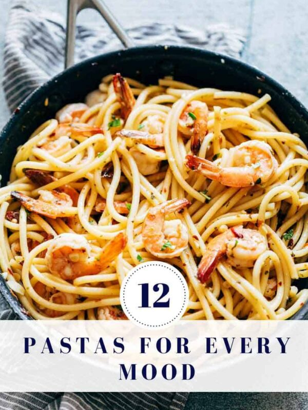 A picture of Shrimp spaghetti Aglio Olio with text overlay which says - 12 pasta recipes for every mood