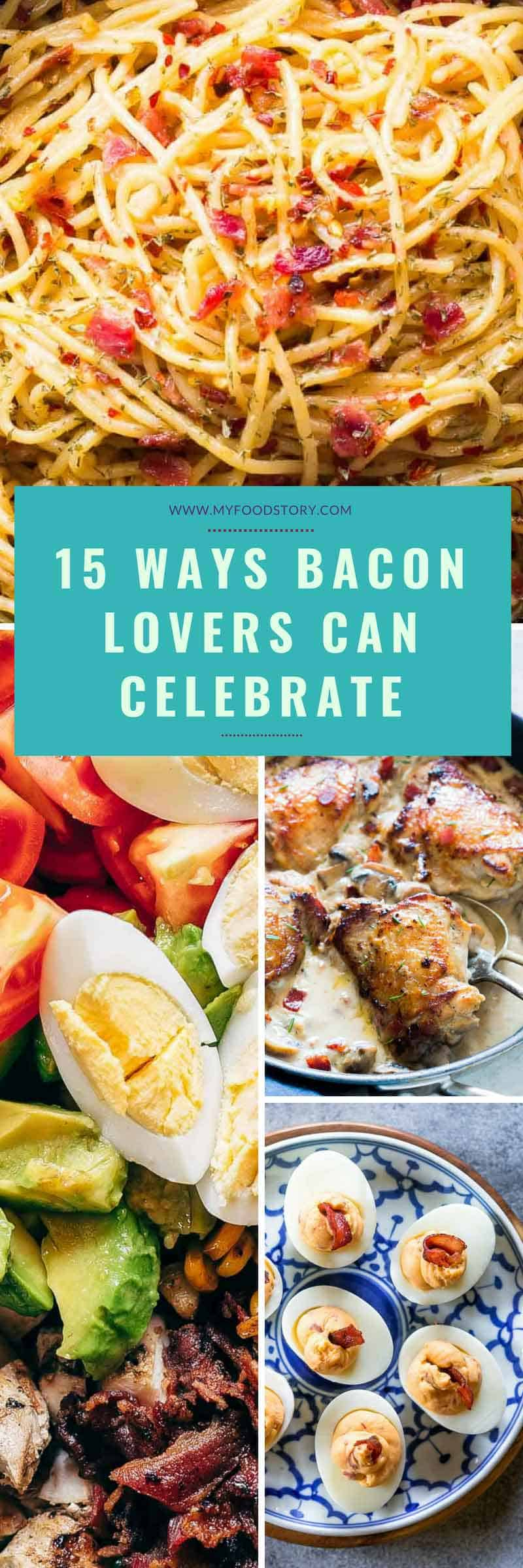 A roundup of 15 insanely delicious bacon recipes that are sure to make you crave some bacon ASAP! Add bacon to pasta, salads, breakfast and see how it makes everything better. #bacon #recipe #pork #pasta #lunch #salad #myfoodstory
