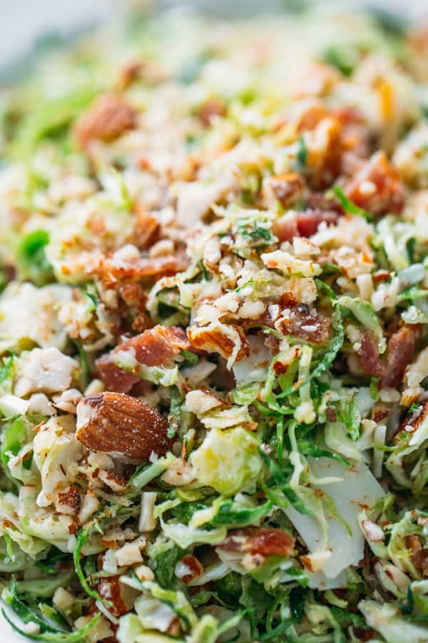 Closeup up of bacon brussel sprouts salad