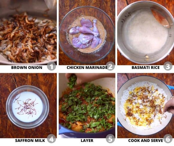 Step by step pictures to show you how to make Chicken Biryani