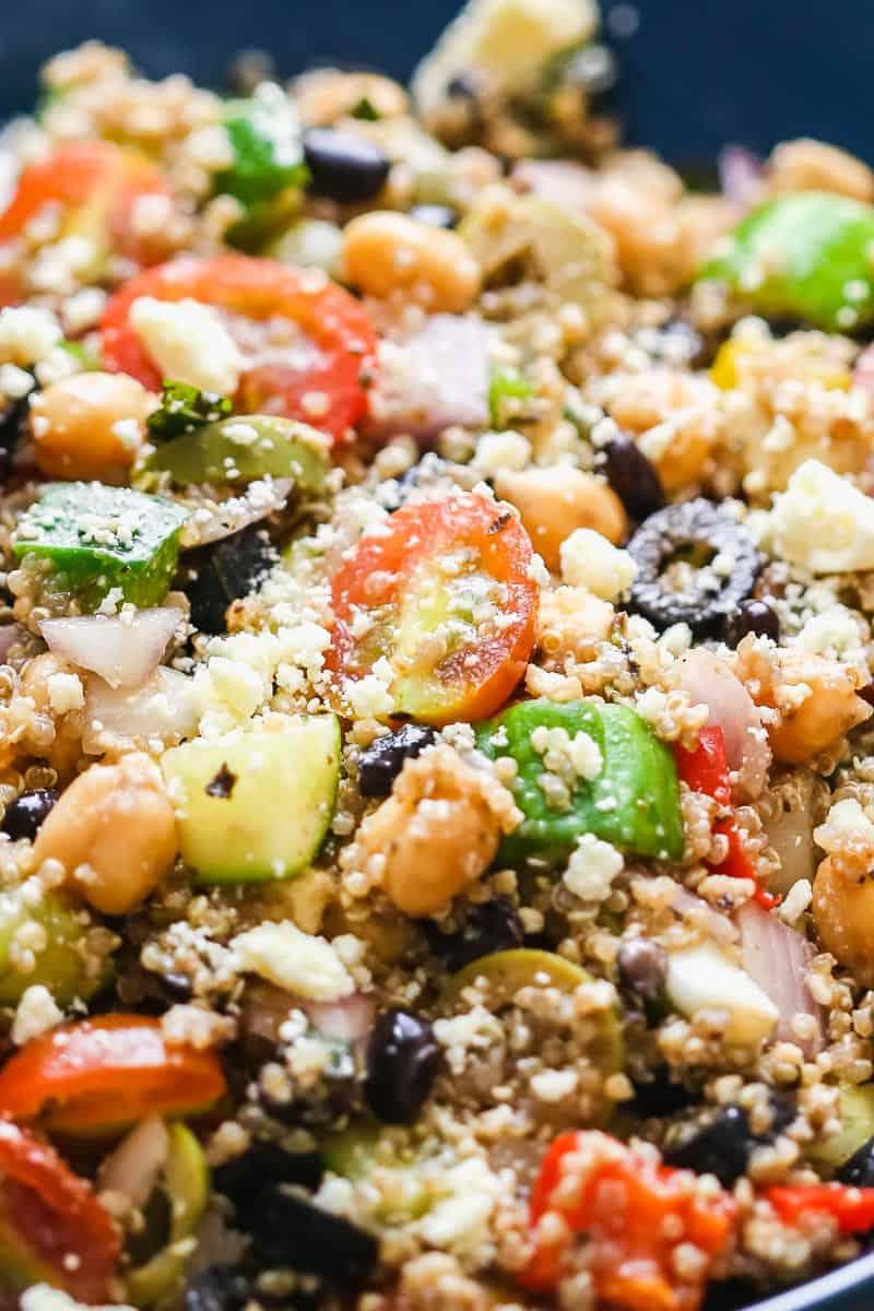 Closeup of mediterranean quinoa salad
