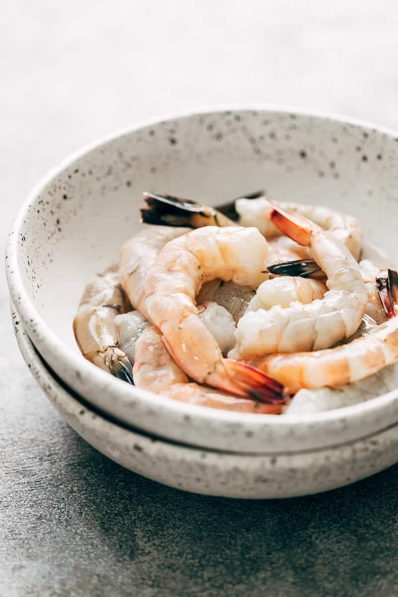 Fresh jumbo prawns for prawn cocktail in a bowl