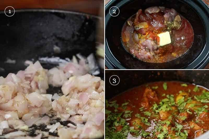Step by step directions to make slow cooker chicken curry