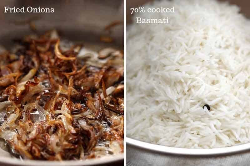 Fried onions and basmati rice are two key ingredients in chicken biryani. A closeup of both is shown in the picture to give you an idea of the level of doneness and colour