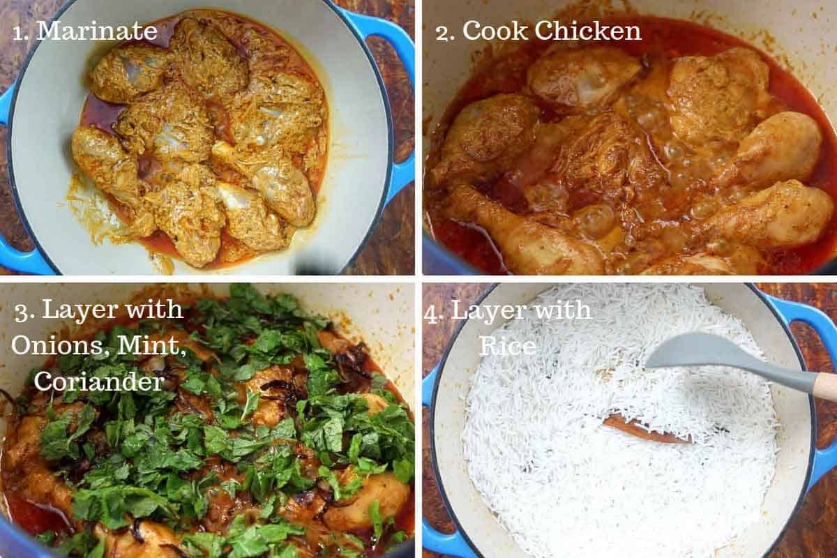 Step by step directions to cook and layer chicken biryani