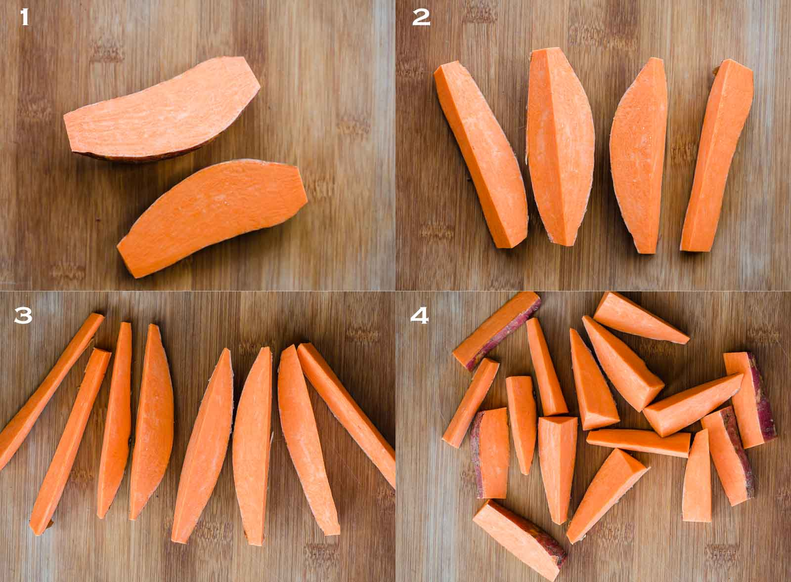 How to cut sweet potato into wedges - step by step instructions