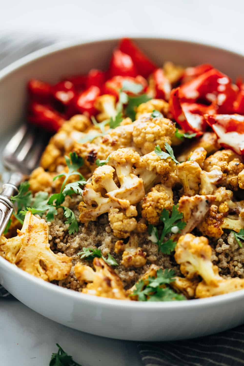 Closeup of Curried roasted cauliflower bowl