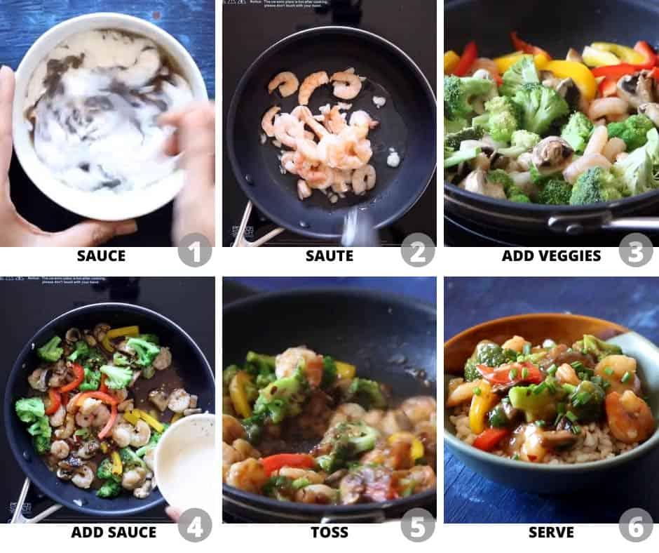 Step by step pictures to show how to make teriyaki shrimp broccoli stir fry
