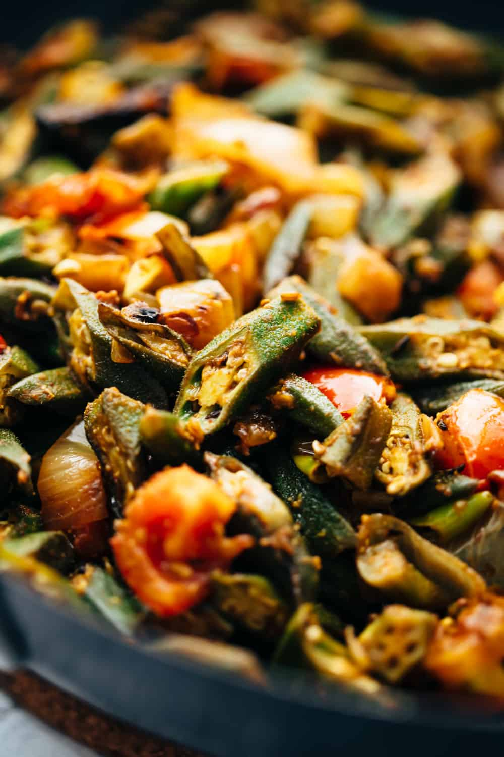 Closeup of bhindi masala in a wok